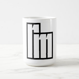 "White Coffee Mug with ""rm"" monogram/logo"