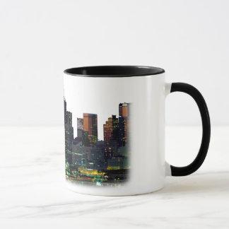 White coffee mug with the Dallas Texas Skyline