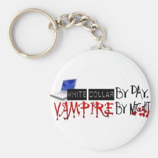 white collar by day, vampire by night basic round button keychain