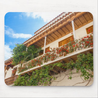 White Colonial Balcony Mouse Pad