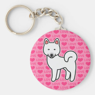 White Color Akita Dog Love Illustration On Pink Keychain