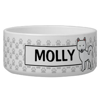 White Color Shiba Inu Dog With Pet's Own Name Bowl