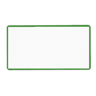 White Color with Thin Green Borders Label