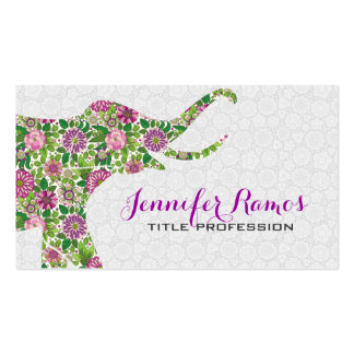 White & Colorful Retro Floral Elephant 2a Double-Sided Standard Business Cards (Pack Of 100)