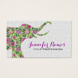 White & Colorful Retro Floral Elephant 2a Business Card