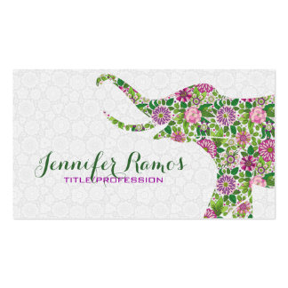 White & Colorful Retro Floral Elephant Double-Sided Standard Business Cards (Pack Of 100)