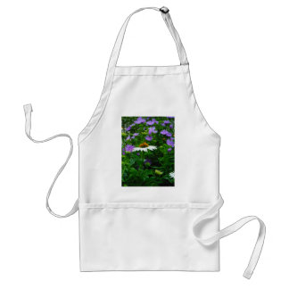 White Cone flower, purple flowers and moth Adult Apron
