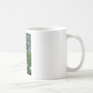 White Cone flower, purple flowers and moth Coffee Mug