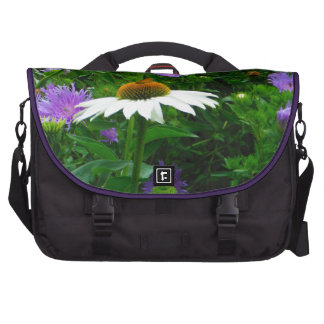 White Cone flower, purple flowers and moth Laptop Messenger Bag