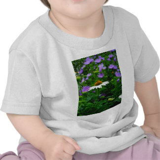 White Cone flower purple flowers and moth Tee Shirts