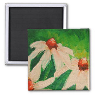 WHITE CONE FLOWERS MAGNET