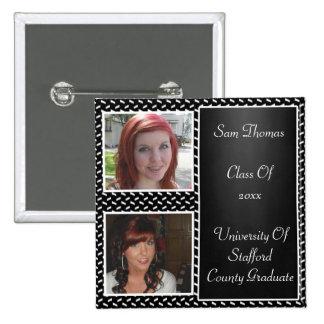 White Confetti Chalkboard 2 Photo Graduation Pin
