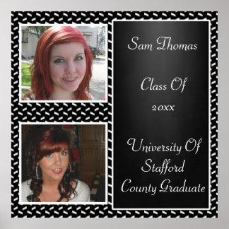White Confetti Chalkboard 2 Photo Graduation Poster