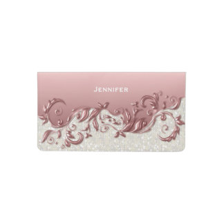 White Confetti Glitter & Pink Metallic Checkbook Cover