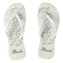 White Confetti Glitter & White Metallic   Bride Flip Flops
