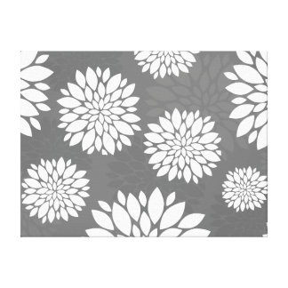 White Contemporary Flowers Canvas Print