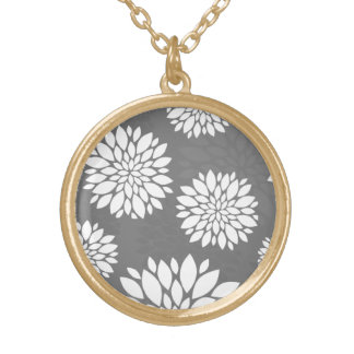 White Contemporary Flowers Gold Plated Necklace