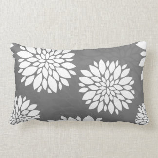 White Contemporary Flowers Lumbar Pillow