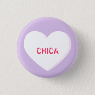 White Conversation Heart Template Pinback Button