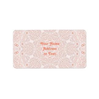 White & Coral  Lace Fabric Image  Background Custom Address Label