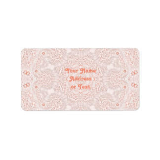 White & Coral  Lace Fabric Image  Background Label