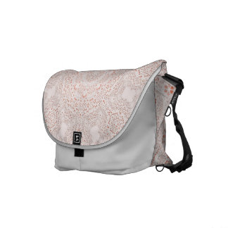White & Coral  Lace Fabric Image  Background Messenger Bag
