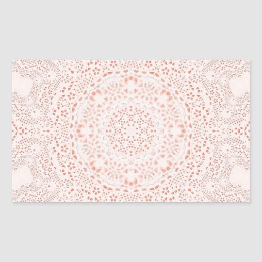 White & Coral  Lace Fabric Image  Background Rectangular Sticker