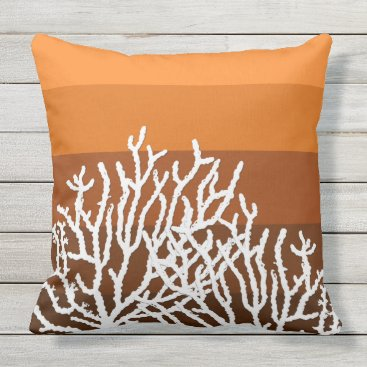 Beach Themed White Coral Orange Striped Pillow