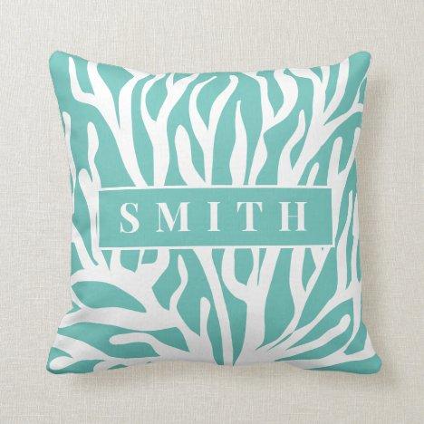 White coral reef turquoise blue ocean life throw pillow