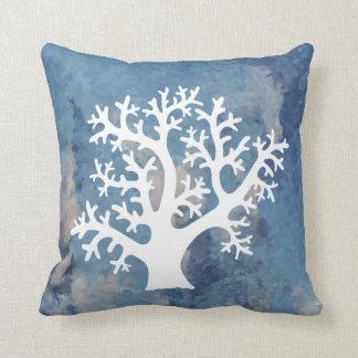 White Coral Silhouette Throw Pillow