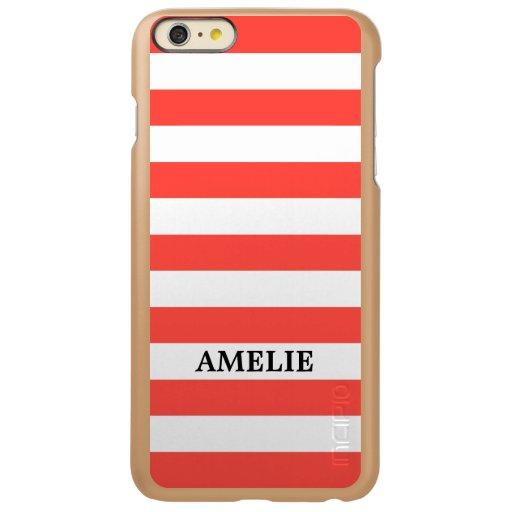 White Coral Stripes Pattern {pick your color} Incipio Feather Shine iPhone 6 Plus Case