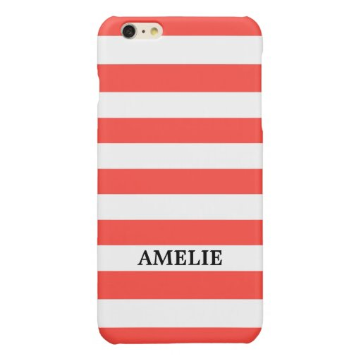 White Coral Stripes Pattern {pick your color} Glossy iPhone 6 Plus Case