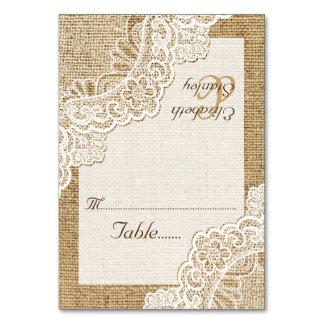 White corner lace on burlap wedding place card