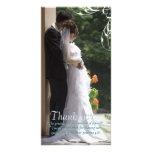White Corner Swirl Wedding Thank You Photo Cards