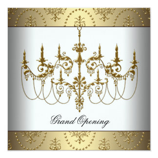 White Corporate Business Grand Opening Party Card