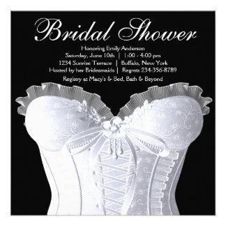 White Corset Black and White Bridal Shower Personalized Invites