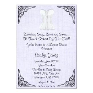 White Corset Lingerie Bridal  Shower Invitation