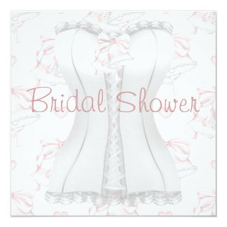 White Corset Pink Wedding Bells  Bridal Shower Inv Card