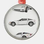White Corvette: Metal Ornament
