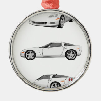 White Corvette: Metal Ornament