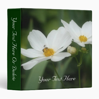 White Cosmos Flower And Bee Nature 3 Ring Binder