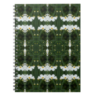 White Cosmos Flowers Abstract Art Notebook