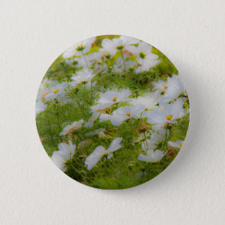 White Cosmos Flowers Button Badge