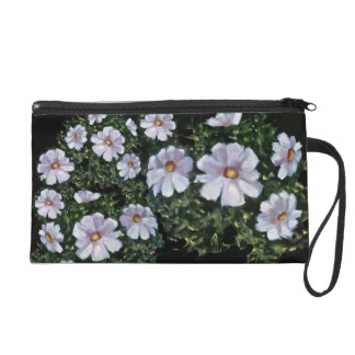 White Cosmos Flowers: Impressionist Painting Wristlet Purse