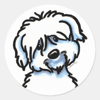 White Coton de Tulear Face Classic Round Sticker