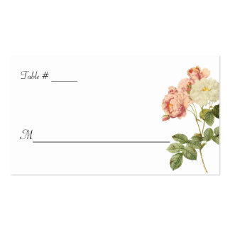 White Cottage Chic Roses Wedding Escort Card Business Card