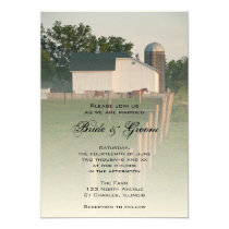 White Country Barn Wedding Invitation