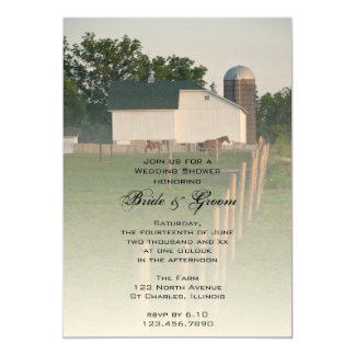 White Country Barn Wedding Shower Invitation