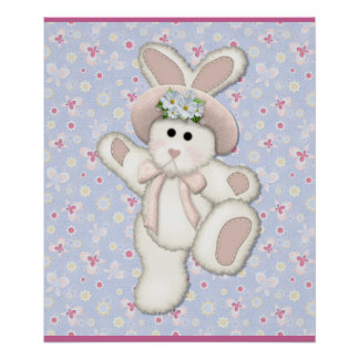 White Country Bunny Nursery Poster