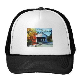 White Covered Bridge  Colorful Autumn New England. Trucker Hat